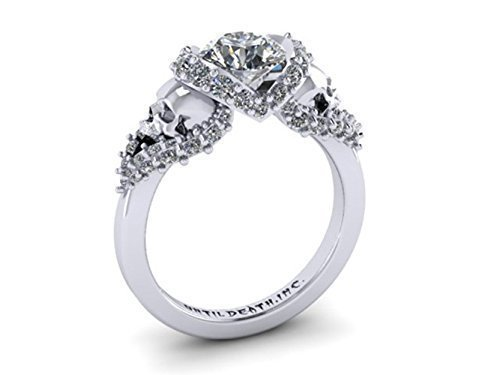 Amazon Skull Engagement Ring made in 14k White Gold