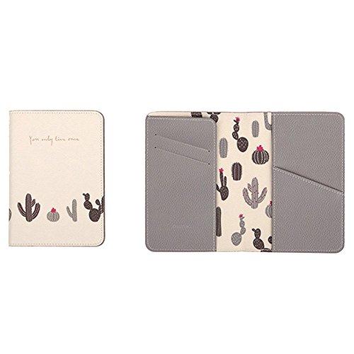 Passport Wallet Holder for Men&Women,RFID Blocking Travel Waterproof Credit Card&Money Bag Storage Boarding Passes Organizer (White cactus)