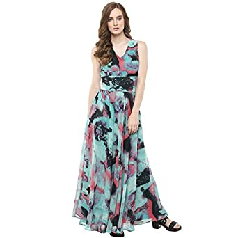 Harpa Sea Green Women s Maxi Dress (GR3373-SEAGREEN)  Amazon.in  Clothing    Accessories 2c0544f7d