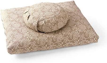 DharmaCrafts Lotus Hand-Block Print ZZSet - Zafu Zabuton Meditation Cushions - Yoga Pillows