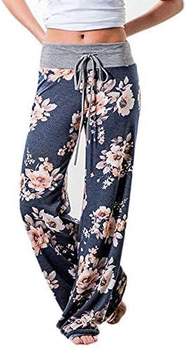 XL FAIYIWO Fashion Womens Floral Print Trousers Ladies Casual Wide Leg Palazzo High Waist Pants FAIYIWO Black Size
