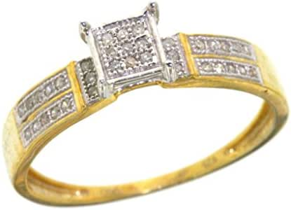 Women's 0.19 CTW Diamond Micro Pave Square Yellow Gold-Plated Sterling Silver Ring