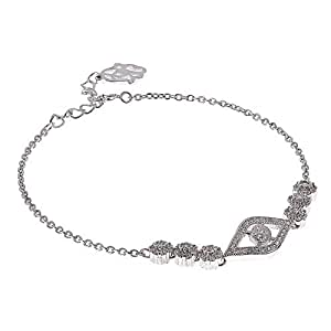 AK Jewels 925 Silver Eye with Flower Blossom Bracelet For Women