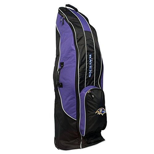 Team Golf NFL Baltimore Ravens Travel Golf Bag, High-Impact Plastic Wheelbase, Smooth & Quite Transport, Includes Built-in Shoe Bag, Internal Padding, & ID Card Holder