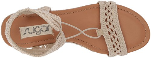 Natural with Crochet Strap Dreambig Out Chop Toe Women's Ankle Sugar Sandal Detail Crochet Open 7A0p7q