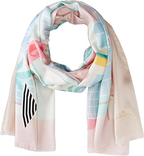 Kate Spade New York Women's Deco Hotel Oblong Scarf Valentine Pink One Size by Kate Spade New York