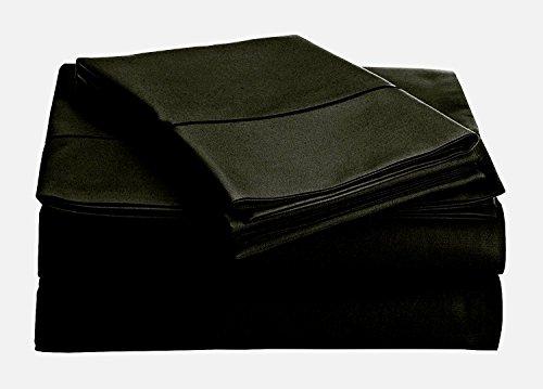 Thread Spread True Luxury 100% Egyptian Cotton - Genuine 1000 Thread Count 4 Piece Sheet Sets - Fits Mattress Upto 18'' Deep Pocket (King, Black)