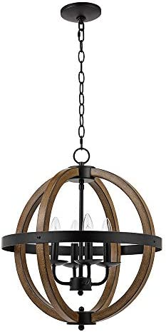 Catalina Lighting 22163-000 Country Rustic Geometric 4 Open Cage Metal Orb Chandelier Pendant Ceiling Light