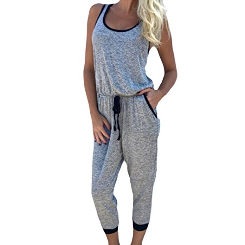 eveless Strappy Sport Playsuits Belt Romper Jumpsuit Bodysuit Sexy Party Jumpers Outfit Loose (Gray, XL) ()