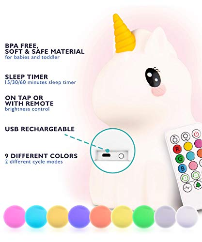 LED Nursery Night Lights for Kids: Baby Girl Gifts, LumiPets Cute Animal Silicone Baby Night Light with Touch Sensor - Portable and Rechargeable Unicorn Color Changing Lamps for Bedrooms