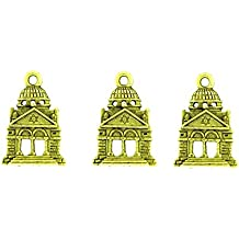 PlanetZia 6pcs Jewish Synagogue Temple Charm USA Made For Jewelry Making JS-1246 (Antique Gold)