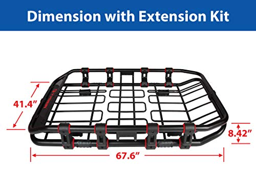 Tyger Auto TG-RK1B906B X-Large/68 x 41 x 8 Super Duty Roof Cargo Basket/Luggage Carrier Rack (with Removable Extension Kit Wind Fairing)