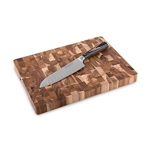 Santokumesser 17 cm mit Akazienholz Schneidebrett Nagoya 2 tlg. von Springlane Selection japanisches Kochmesser aus Edelstahl mit Kullenschliff und robustem Echtholz Schneidbrett messerschonend