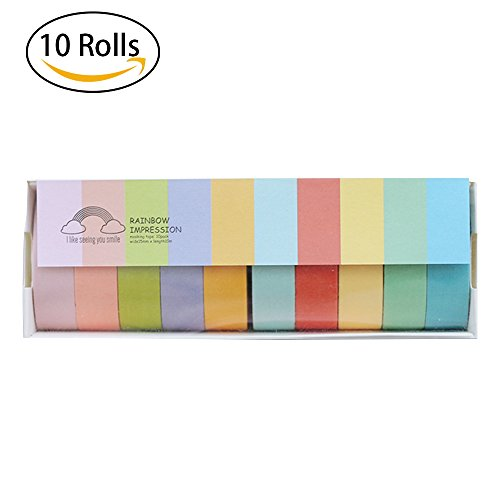32.8 Feet Long Colored Masking Tape, NaTape Colorful Paint Tape for Kids, Students DIY Rainbow Sticker, Arts and Crafts, Scrapbook