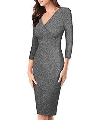 HyBrid & Company Women's Super Comfy Plum Cross V-Neck Midi Dress
