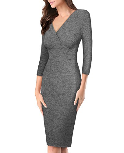 - Women's Plum Cross V Neck MIDI Dress KDR44322 G4000 Heather GR XLarge