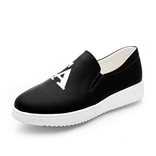 Allhqfashion Womens Geassorteerde Kleur Lage Hakken Pull Op Ronde Gesloten Teen Pumps-schoenen Zwart