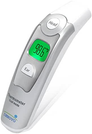 Innovo Medical Digital Forehead and Ear Thermometer - Temperature and Fever Health Alert Clinical Monitoring System for Children and Adults - CE and FDA Cleared