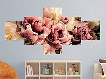 Amazon De Leinwandbild 5 Tlg 200x100cm Blume Blumen Muster Rosen