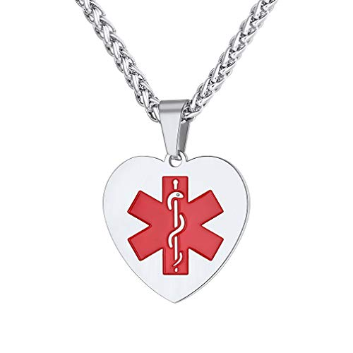 - Supcare Heart Pendant Necklace Medical Alert ID Tag Necklace Jewelry Stainless Steel for Women/Men/Kids, Medical Emergency Identification Necklace Jewelry