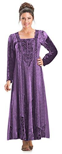 HolyClothing Morgana Medieval Velvet Satin & Lace Tudor Princess Dress Gown - Large - Purple (Medieval Gown Dress)