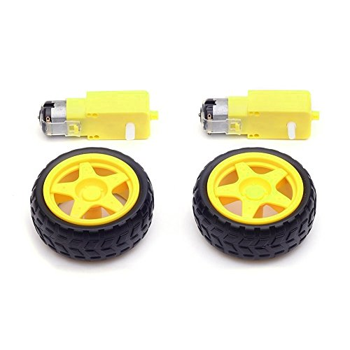 Honbay 2 Sets Plastic Tire Wheel with Gear Motor Dual Shaft for Smart Car Robot Arduino -