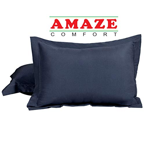 King Pillow Shams Set of 2 Navy Blue 600 Thread Count 100% Natural Cotton Envelop Closer Pillow Shams King 20X36 Cushion Cover Decorative Pillow Cover Tailored Poplin (King 20 x 36, Navy Blue)