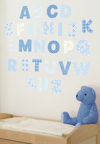 FunToSee Upper & Lowercase Alphabet Wall Decals (Blue) (Train Pennant)