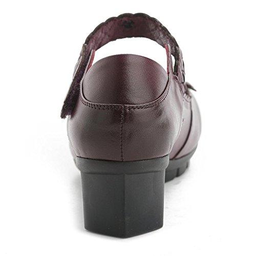 und YC® GL Frauen Leder 37 mit dicken bequem runden Freizeitschuhe bequem Brautkleider lila Satin Sandalen flach znwTqwSd