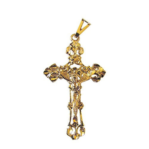 - Stunning Filigree Crucifix Pendant 14k Gold Plated Free Prayer Card Blessed By Pope Francis