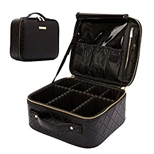 ROWNYEON Rhomboid Makeup Bag Organizer Rhombus Makeup Travel Case Professional Portable Makeup Train Case for Cosmetics Makeup Brushes PU Leather Adjustable Dividers Gift for Girls Women Small Black