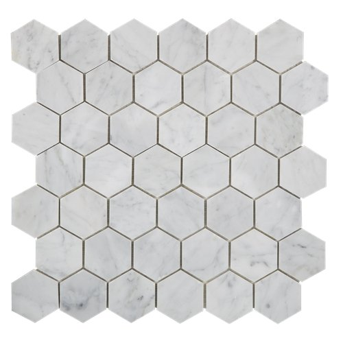 Carrara White Italian Carrera Marble Hexagon Mosaic Tile 2 inch Polished (5 PCS/CTN)