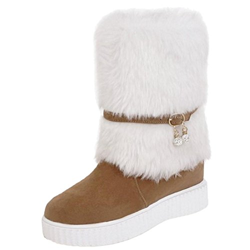 Snow On Boots TAOFFEN Women's Pull Yellow w0ZTZx5qf