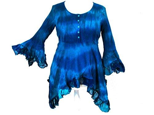 Dye Darkstar - Dark Star Plus Size Blue Purple Gothic Georgette Renaissance Bell Sleeve Top (TAGGED LFITS1X)
