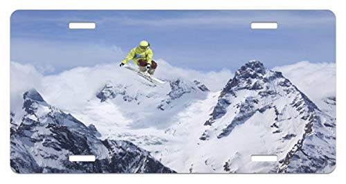 Kingsinoutdoor Extreme Sports Winter Sports Seasonal Activity with Skiier Novelty Front License Plates Aluminum Sign Tag Decorative Car Tag with 4 Holes (12 X 6 inches)