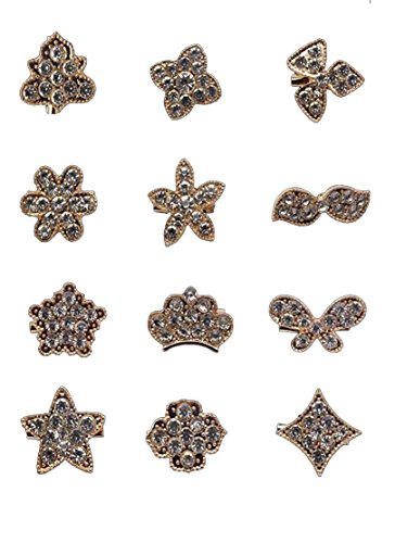 - L'VOW 12px Gold Silver Crystal Button Brooches Scarves Buckle Floriated Brooch Collar Pin Rhinestone Corsage Bouquet Kit (Gold F(Mini pin))