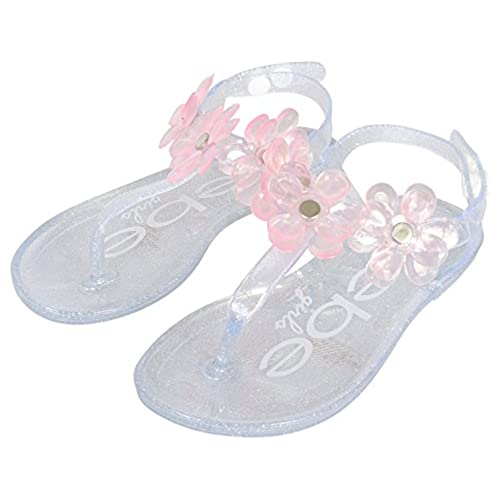 d6831c864f34 bebe Girls Flower Thong Jelly Sandals - Set of 2 - Ankle Strap Open Toe Flat