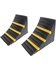 """ROBLOCK Rubber Wheel Chocks Heavy Duty Trailer Chock with Yellow Reflective Strip for Truck Camper RV - 2 Pack Black, 11.6"""" Length x 6.3"""" Width x 7.5"""" Height"""