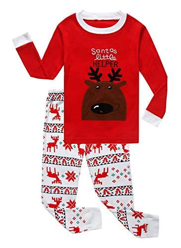 Family Feeling Little Toddler Boys Girls' Flying Reindeer Christmas Cotton Long Sleeve Pajama Set T Shirts Pants Size 4T