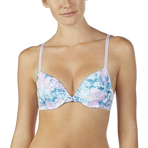 OnGossamer Women's Printed Mesh Bump It Up Push Up Bra, Markle Skies, -