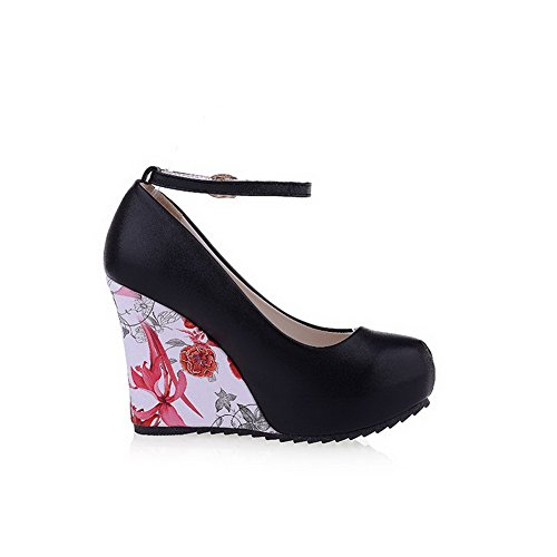 AllhqFashion Mujer PU Hebilla Tacón Alto Cuña Puntera Redonda ZapatosdeTacón Negro