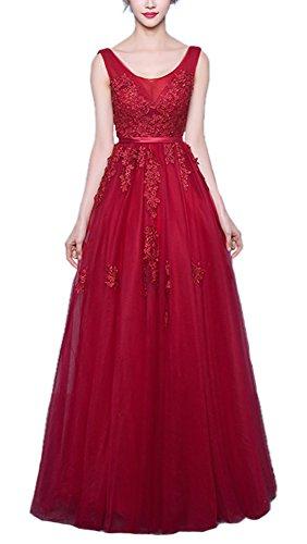 para de de Encaje Callmelady Largos Mujer Noche Vestidos Fiesta Vestidos Borgoña Cuchara wFaUz