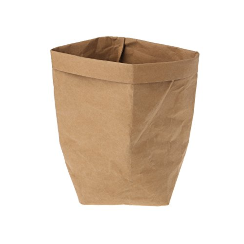 (Kraft Paper Storage Bags - Washable Plants Vegetable Grow Bag, Flower Pot Bag, Basket Flowerpot Cover, Baby Clothing, Toy Organizer by SYlive (25x40cm, Burlywood))