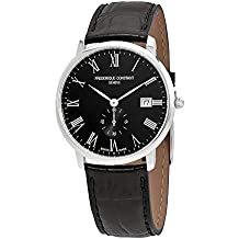 Frederique Constant Slimline Black Dial Leather Strap Men's Watch FC-245BR5S6