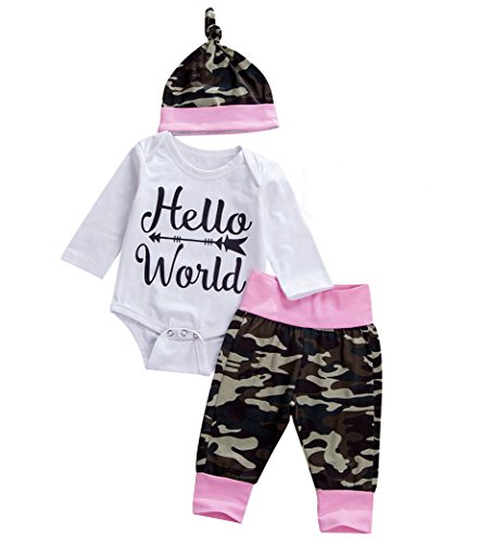 Emmababy Newborn Unisex Baby Long Sleeve Romper Camouflage Pants Outfit with Hat Sets (0-6Months, Pink)