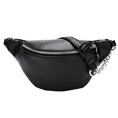- Inkach Waist Pack Bags - Fashion Womens Chain Leather Fanny Packs - Messenger Shoulder Chest Bag (Black)