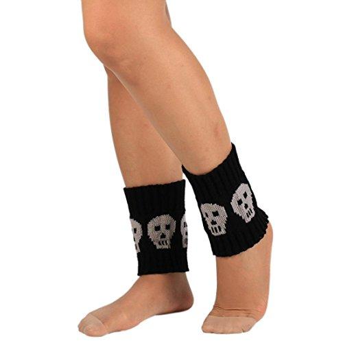 Deamyth Fall Winter Women Skull Knit Short Leg Warmers Knee Leggings Boot Cover Trim Socks ()