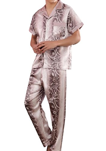 (DressUMen Short Sleeve Lounge Vogue Long Pants Printed Charmeuse Pajama Sleep Set Pattern1 XL)