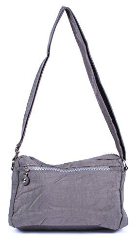 Bolso bandolera pequeño, estilo deportivo, nylon, varios colores, gris (gris) - A2040057-6 gris