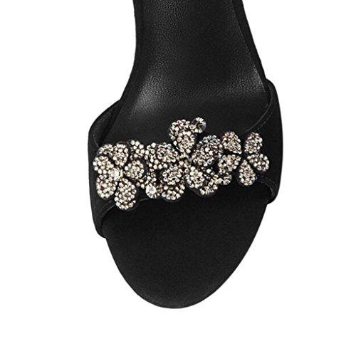 Fine Mode Sort 5 Sort farve Eu36 Størrelse Uk3 Sexede Højhælede Hæle Cjc Faux Sandaler Diamanter Åben Elegante Nål nq8fFXa
